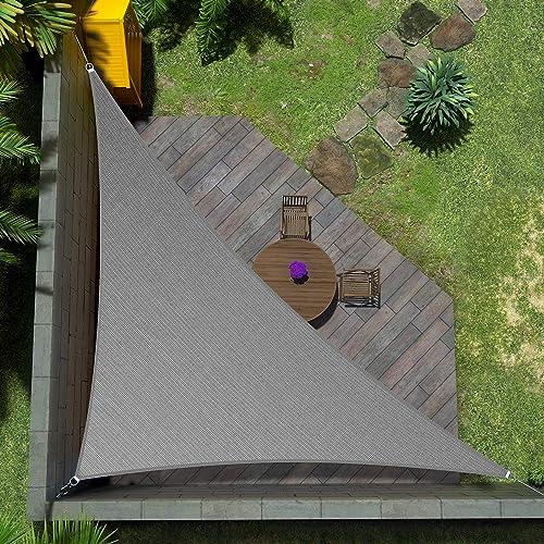 Amgo Custom Size Right Triangle 16' x 21' x 26.4' Grey Triangle Sun Shade Sail ATAPT16 Canopy Awning