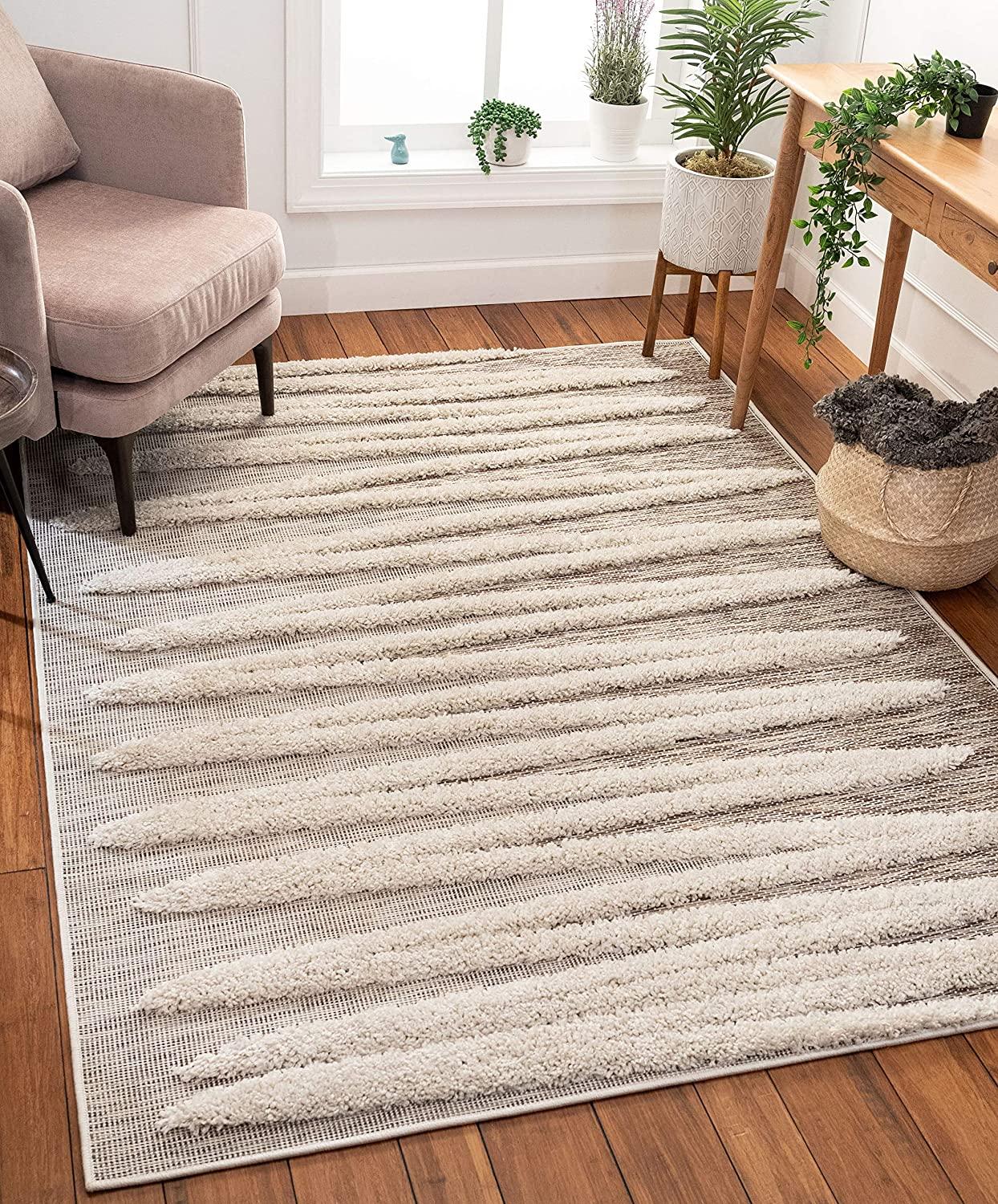 Amazon Com Well Woven Bergen Beige Flat Weave Hi Low Pile Geometric Stripes Moroccan Tribal Area Rug 8x10 7 10 X 9 10 Home Kitchen