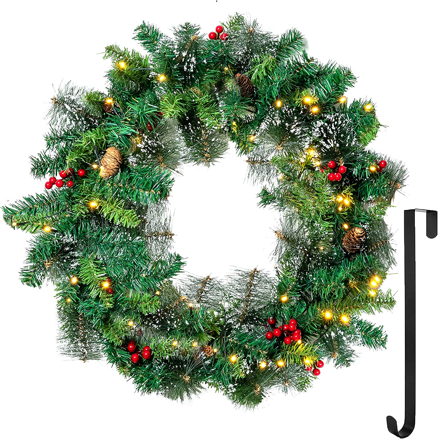 "24"" Snow Flocked Christmas Wreath with 15"" Hanger, Pre-lit Artificial Wreath with 50 LED Lights, Red Berries, Pine Cones for Front Door Wall Christmas Decorations (Battery Operated)"