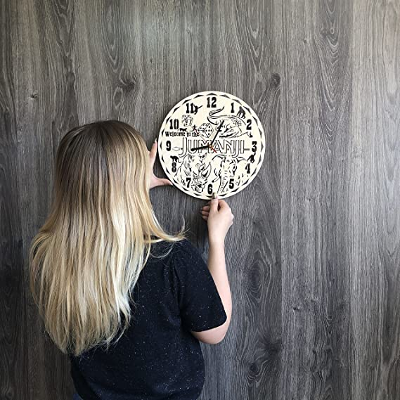Amazon.com: 7ArtsStudio Jumanji Wall Clock Made of Wood - Perfect and Beautifully Cut - Decorate Your Home with Modern Art - Unique Gift for Him and Her ...