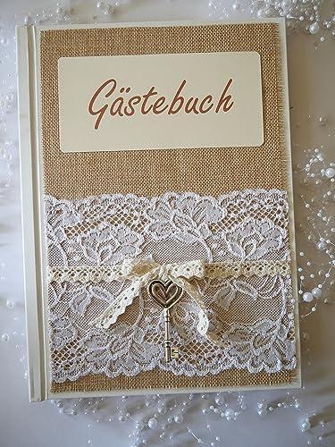 Gastebuch Hochzeit Vintage Echte Jute Und Spitze Mit Schlussel