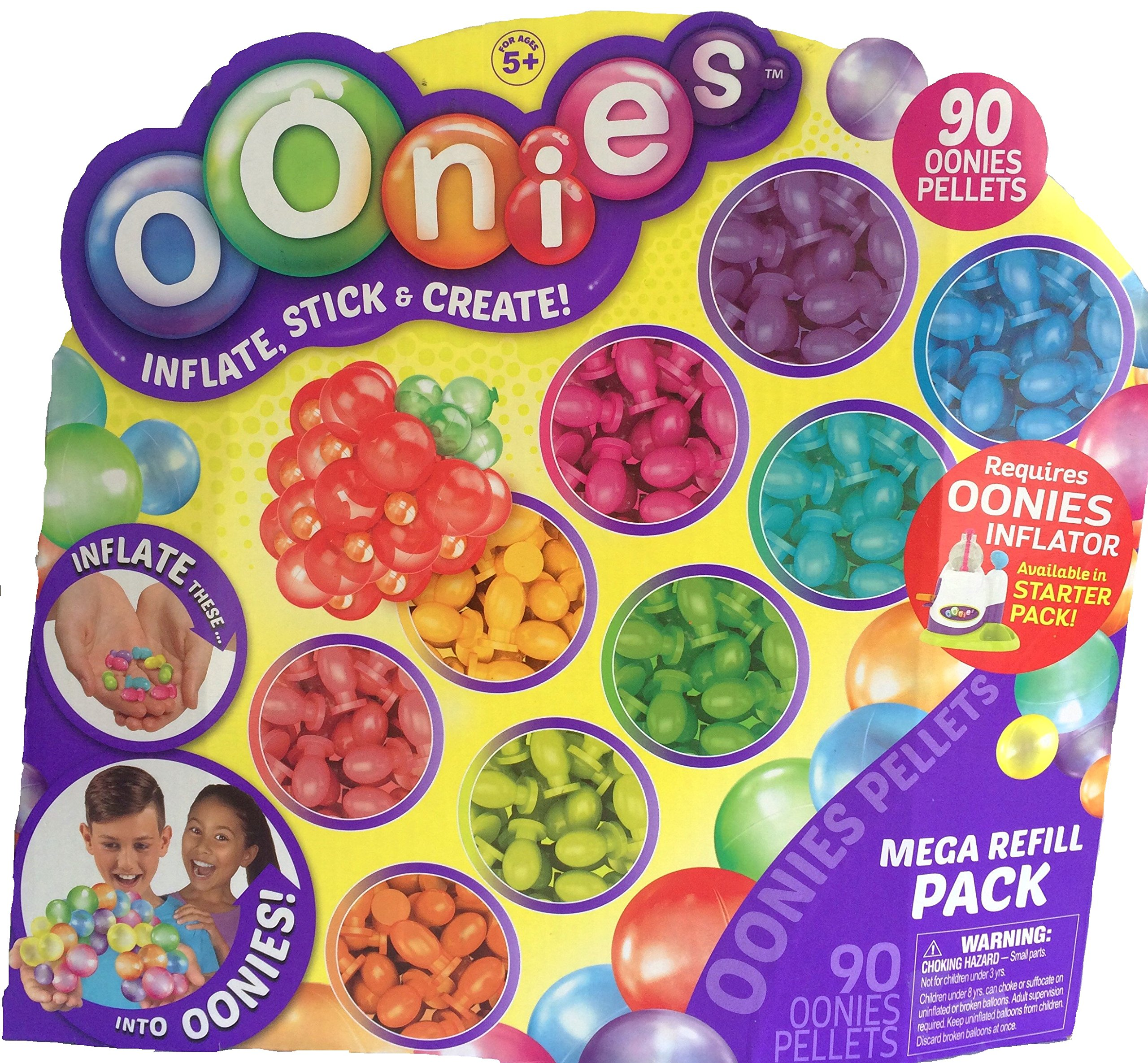 Oonies 5 Piece Toy Bundle Includes Starter Pack with Inflator Tool, Oonies MEGA Refill Multicolor Pack, Oonies Additional Theme Pack, 30 Puffy Sticker Adhesive Eyes & Santa Clings by Mixed (Image #3)