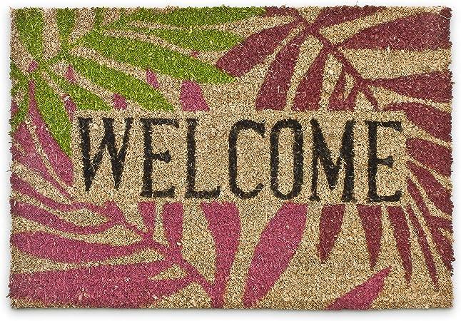Natural Felpudo para la Entrada de su hogar Hecho de Fibras de Coco y PVC con Medidas 40 x 60 cm Antideslizante Elemento Decorativo Relaxdays