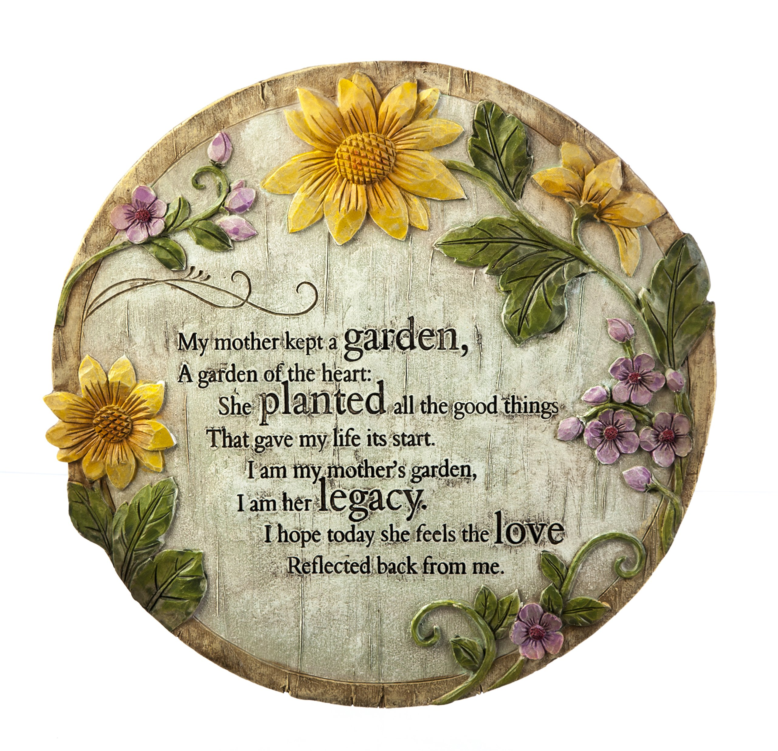 "Evergreen Garden Mother's Garden Polystone Memorial Stepping Stone - 12""W x 0.5""D x 12""H"