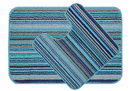 Saral Home Micro Polyester Bathmat with Contour Set (Turquoise, 40X60cm)