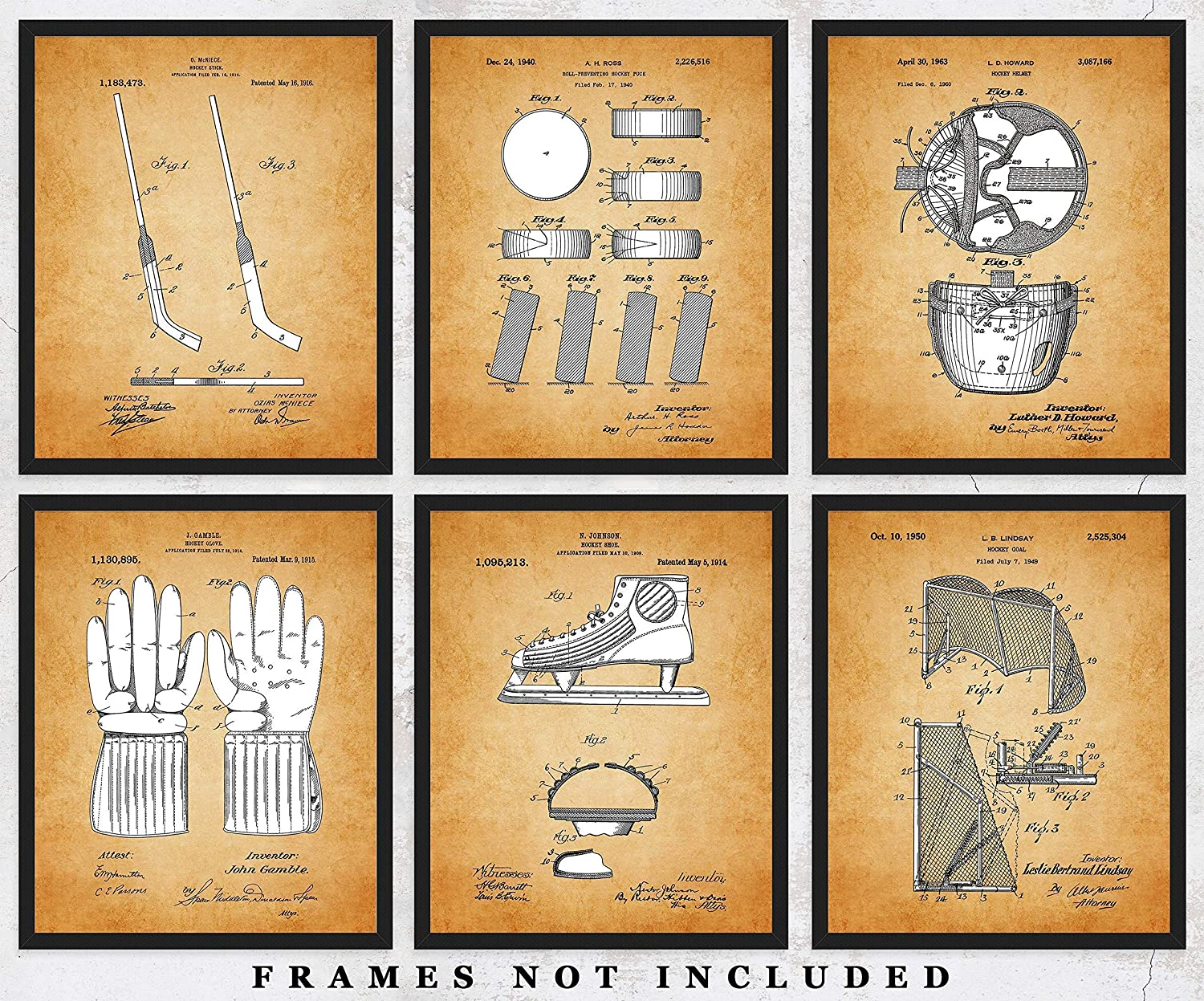 Hockey Patent Prints Set of 6 Unframed 8x10 Photos - Vintage Wall Art Sports Posters For Home Office, Game Room & Man Cave Decor - Great Gift Under $25 for Boys, Men, Coach