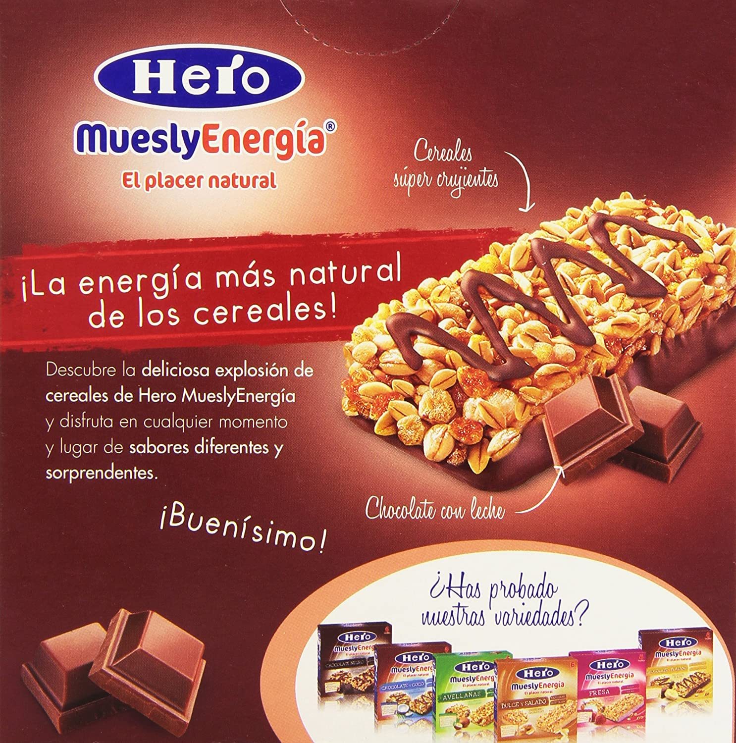 Hero Muesly Energia Barritas de Chocolate - Pack de 6 x 25 g - Total ...