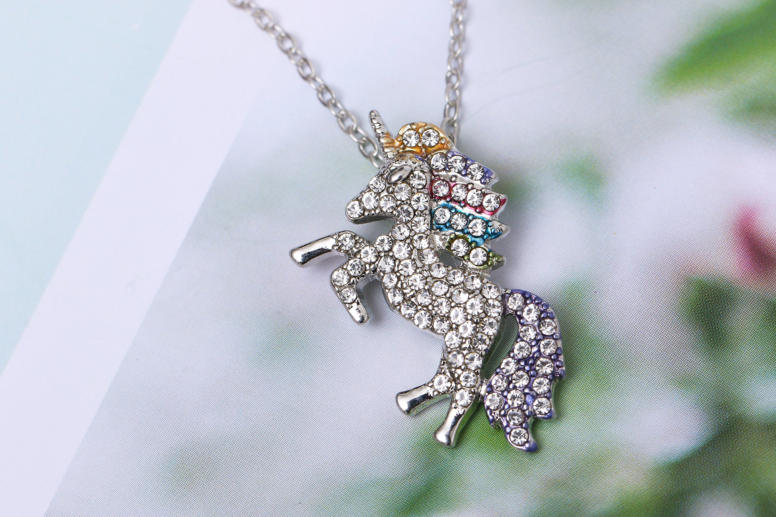 MUHU Fashion Rainbow Rhinestones Unicorn Pendant Necklace 9