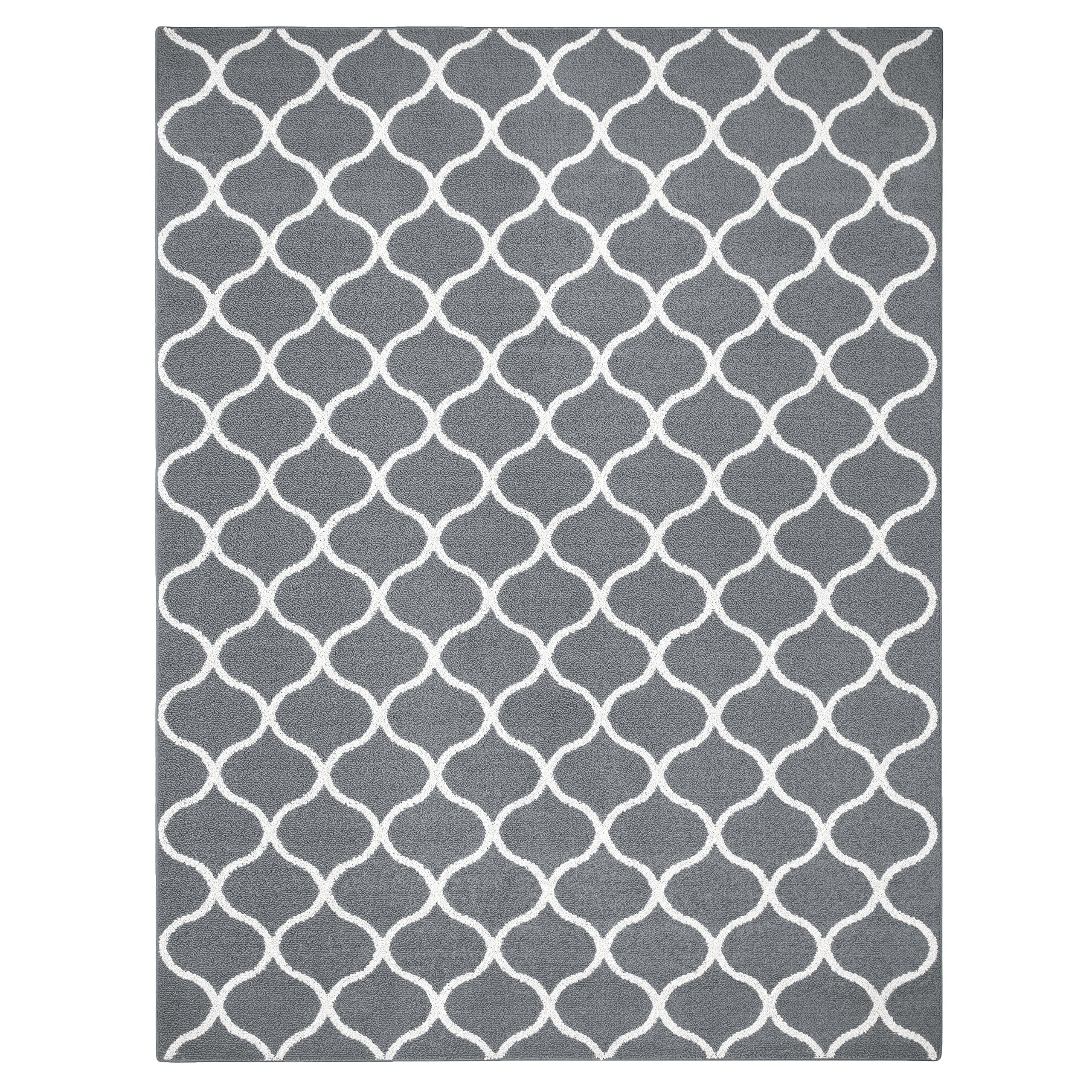 Maples Rugs Area Rugs, [Made in USA][Rebecca] 7' x 10' Non Slip Padded Large Rug for Living Room, Bedroom, and Dining Room - Grey/White