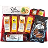 Specialty Gift Basket - features Smoked Summer Sausages, 100% Wisconsin Cheeses, Crackers, Pretzels & Mustard | A Great Snack or Gift!