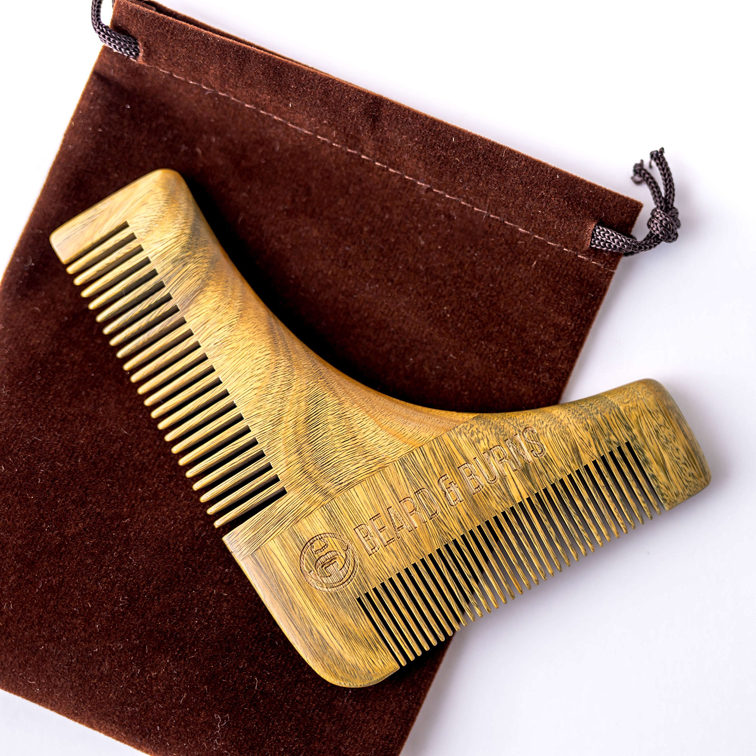 Beard Comb & Shaping Tool by Beard and Burns - 100% Natural Sandalwood Comb - Perfect with Beard Oil & Balms - Anti Static & Snag Free - Great Addition to Beard Kit