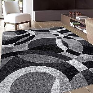 "Contemporary Modern Circles Gray Area Rug Abstract 3'3"" x 5'3"""