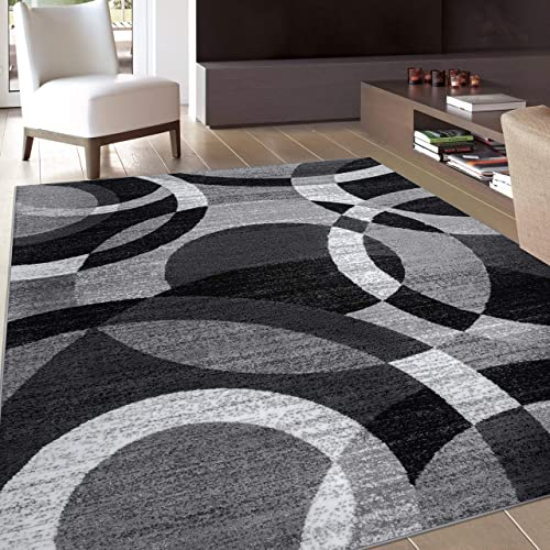 Contemporary Modern Circles Gray Area Rug Abstract 5' 3″ X 7' 3″
