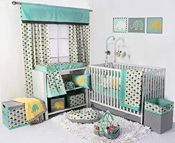 Bacati Elephants Unisex 10 Piece Nursery In A Bag Crib Bedding Set With Bumper Pad 100 Percent Cotton Percale For Us Standard Cribs Mint Yellow Grey
