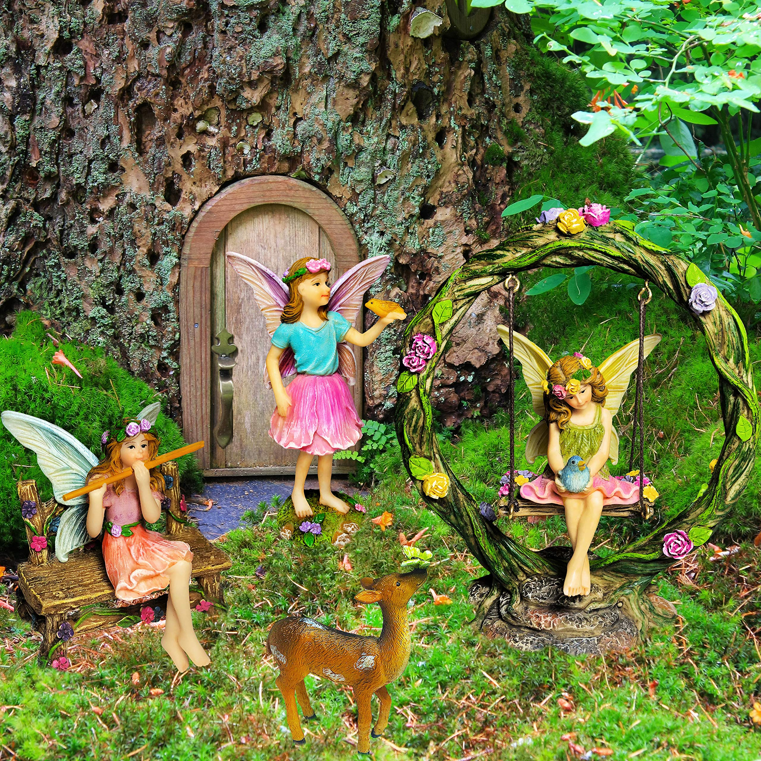 Mood Lab Fairy Garden Kit - Miniature Figurines with Accessories Swing Set of 6 pcs - Hand Painted for Outdoor or House Decor by Mood Lab (Image #6)