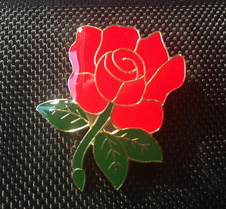 Lancashire Red Rose England Enamel Lapel Pin Badge
