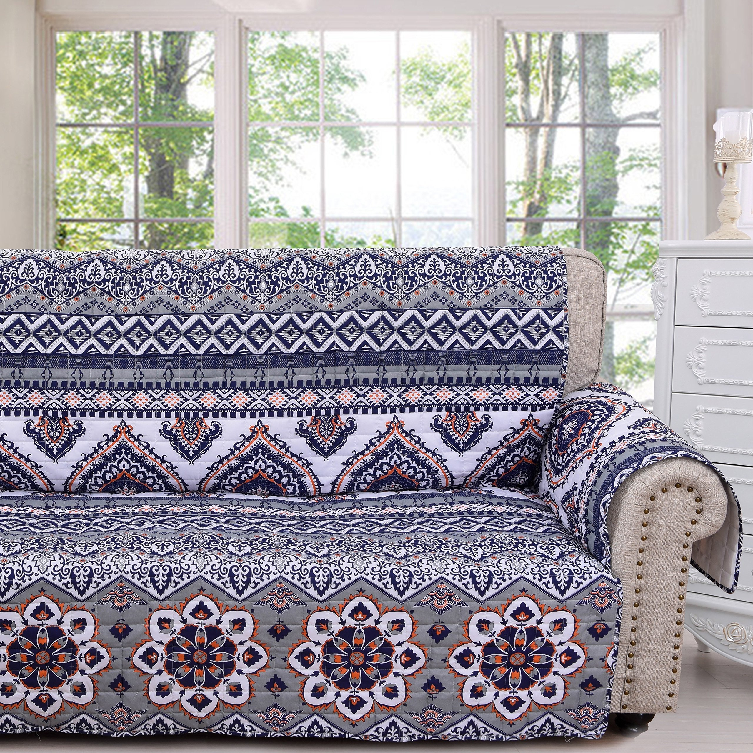 MN 1 Piece Blue White Paisley Theme Sofa Protector, Gray Geometric Flower Pattern Couch Protection Flowers Floral Leaves Furniture Protection Cover Pets Animals Covers Nature, Polyester