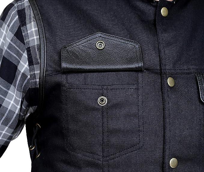 Men Side Lace Denim style Biker motorcycle leather waistcoat Vest UK Stock
