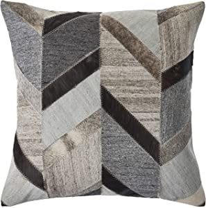 """LR Home Multicolored Chevron Faux Leather Throw Pillow, 20"""" x 20"""", Gray/Brown"""