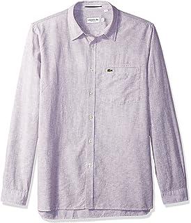 Lacoste CH4999 - Camisa de Manga Larga para Hombre con Cuello de Rayas y  Botones 32bbc3a72717d