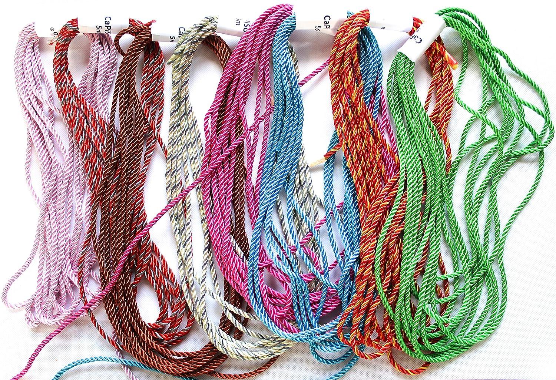 40/m 8/couleurs assorties chacune 5/m de long cordon Largeur 4/mm Lot de 8/Cordons Multicolore gemixt