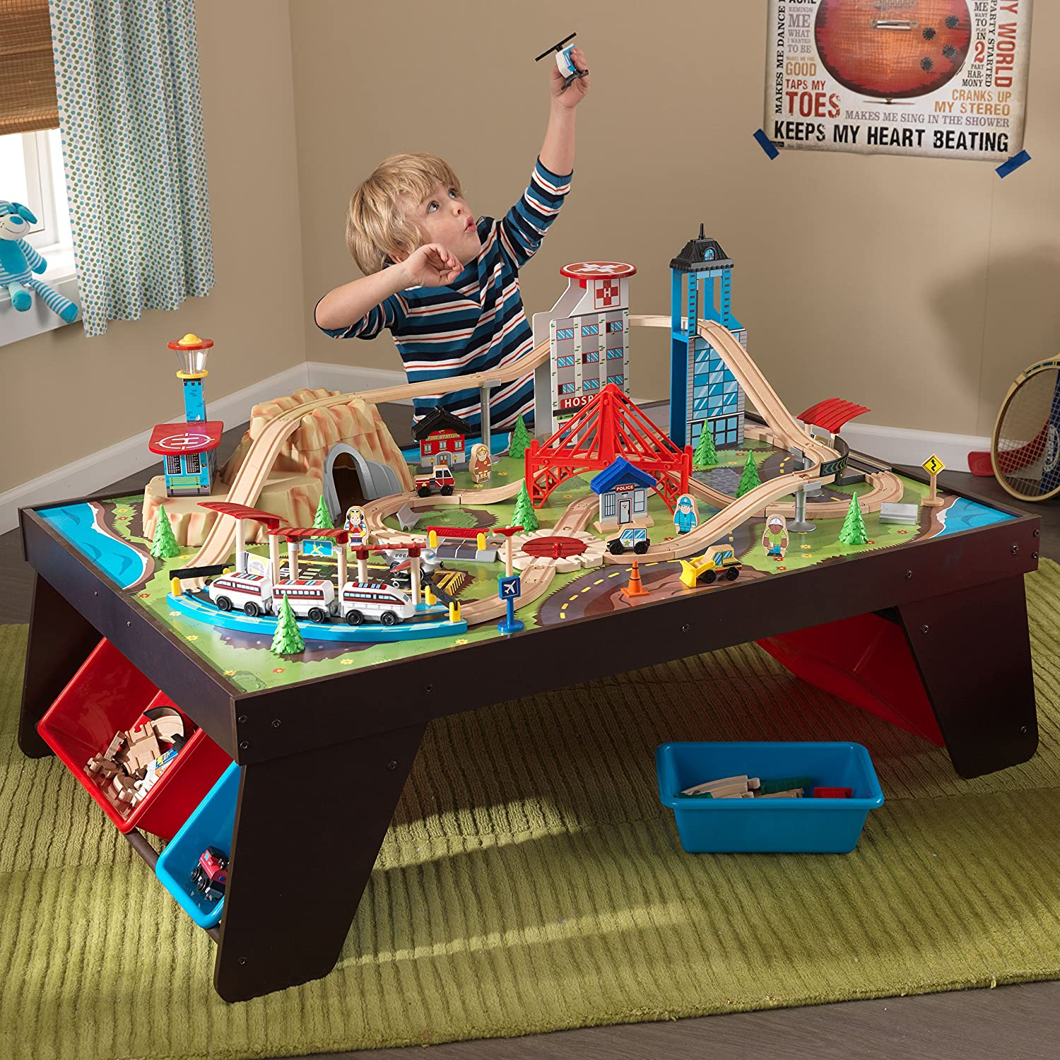Amazon.com: KidKraft Aero City Train Set & Table: Toys & Games