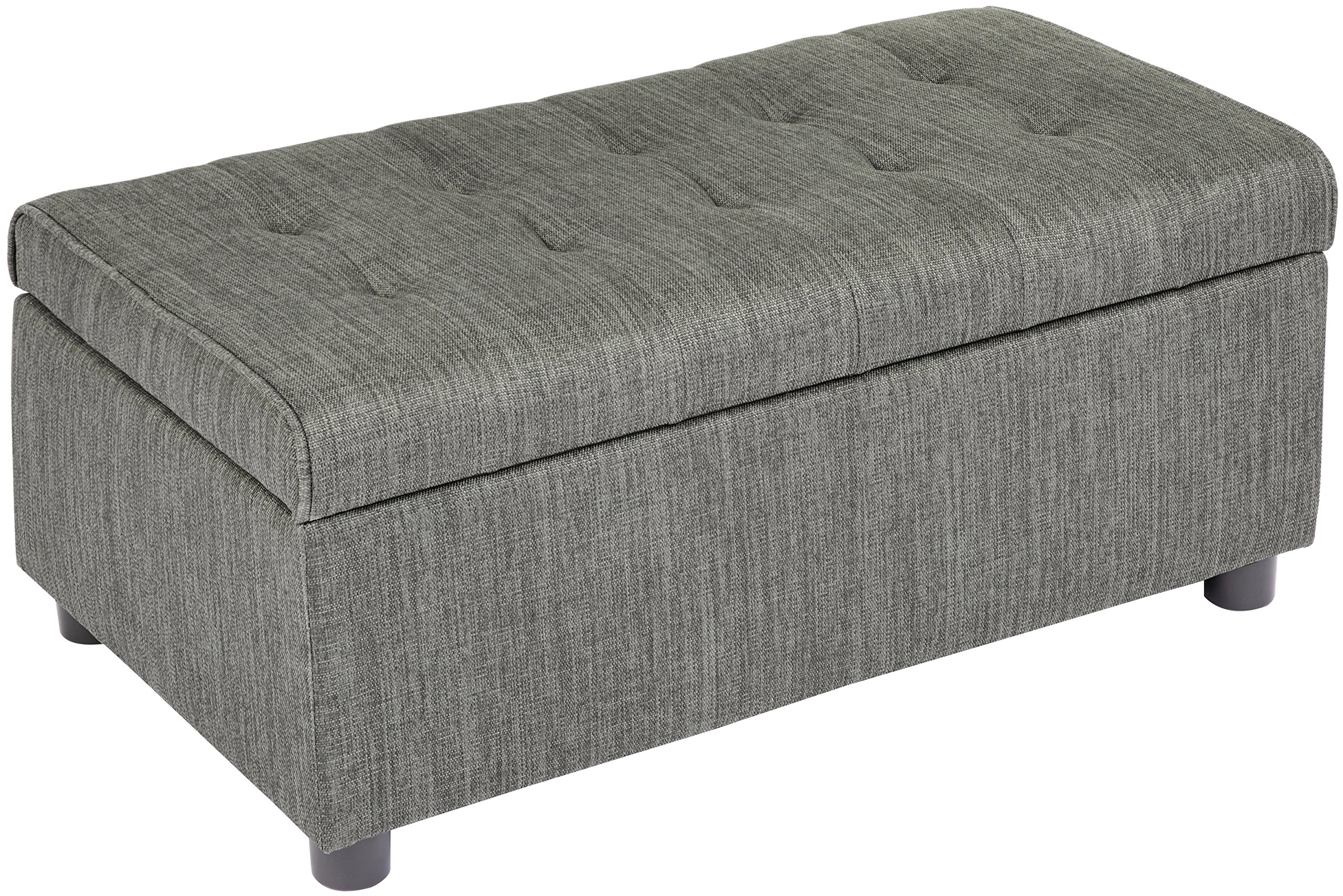 First Hill Arlos Rectangular Fabric Storage Ottoman with Tufted Design - Shadow Gray by First Hill