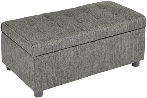 First Hill Arlos Rectangular Fabric Storage Ottoman with Tufted Design – Shadow Gray