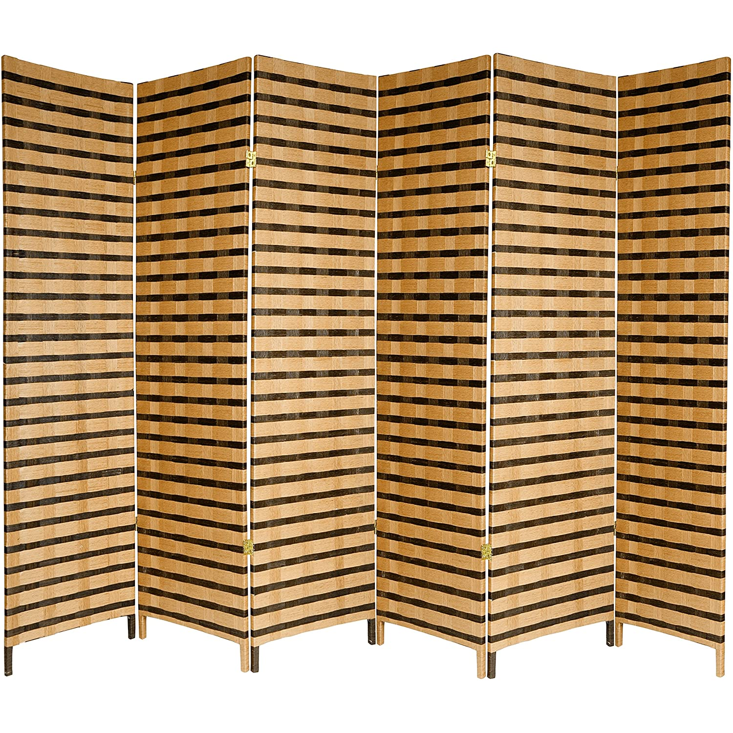 Oriental Furniture Good Simple Extra Wide Large Size Room Divider, 6-Feet Rattan Style Two Tone Woven Fiber Folding Screen Partition, 6 Panel JH09-128-6P