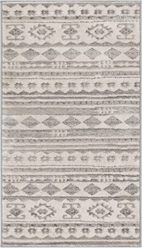 Well Woven Mezzo Vintage 2×4 2 3 x 3 11 Area Rug Ivory Grey Softex Microfiber High-Low Pile Vintage Abstract Erased Modern Geometric Ethnic Tribal Carpet