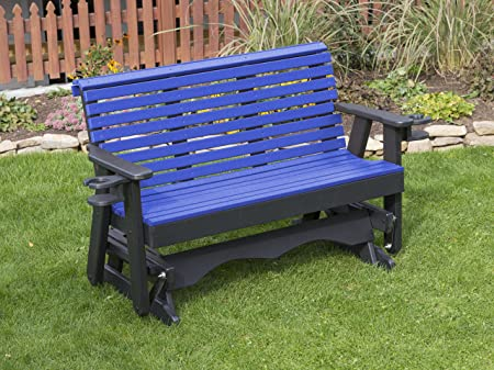 5FT-BLUE-POLY LUMBER ROLL BACK Porch GLIDER with Cupholder arms Heavy Duty EVERLASTING PolyTuf HDPE – MADE IN USA – AMISH CRAFTED