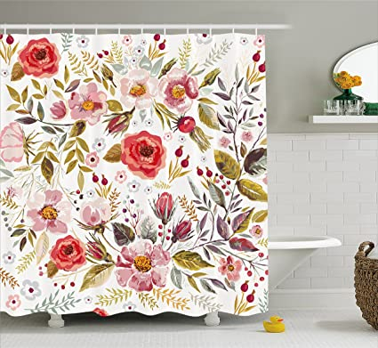 Amazon.com: Ambesonne Vintage Shower Curtain by, Floral Theme Hand ...