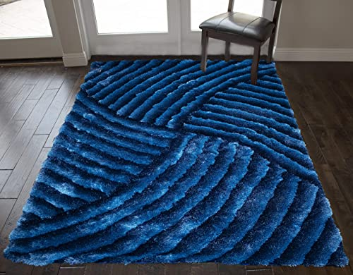 5 x7 Feet Dark Blue Light Blue Colors Two Tone Shag Shaggy Striped Woven Braided Hand Knotted Feisty Accent Furry Fuzzy Modern Contemporary Decorative Designer Bedroom Living Room 3D Area Rug Carpet