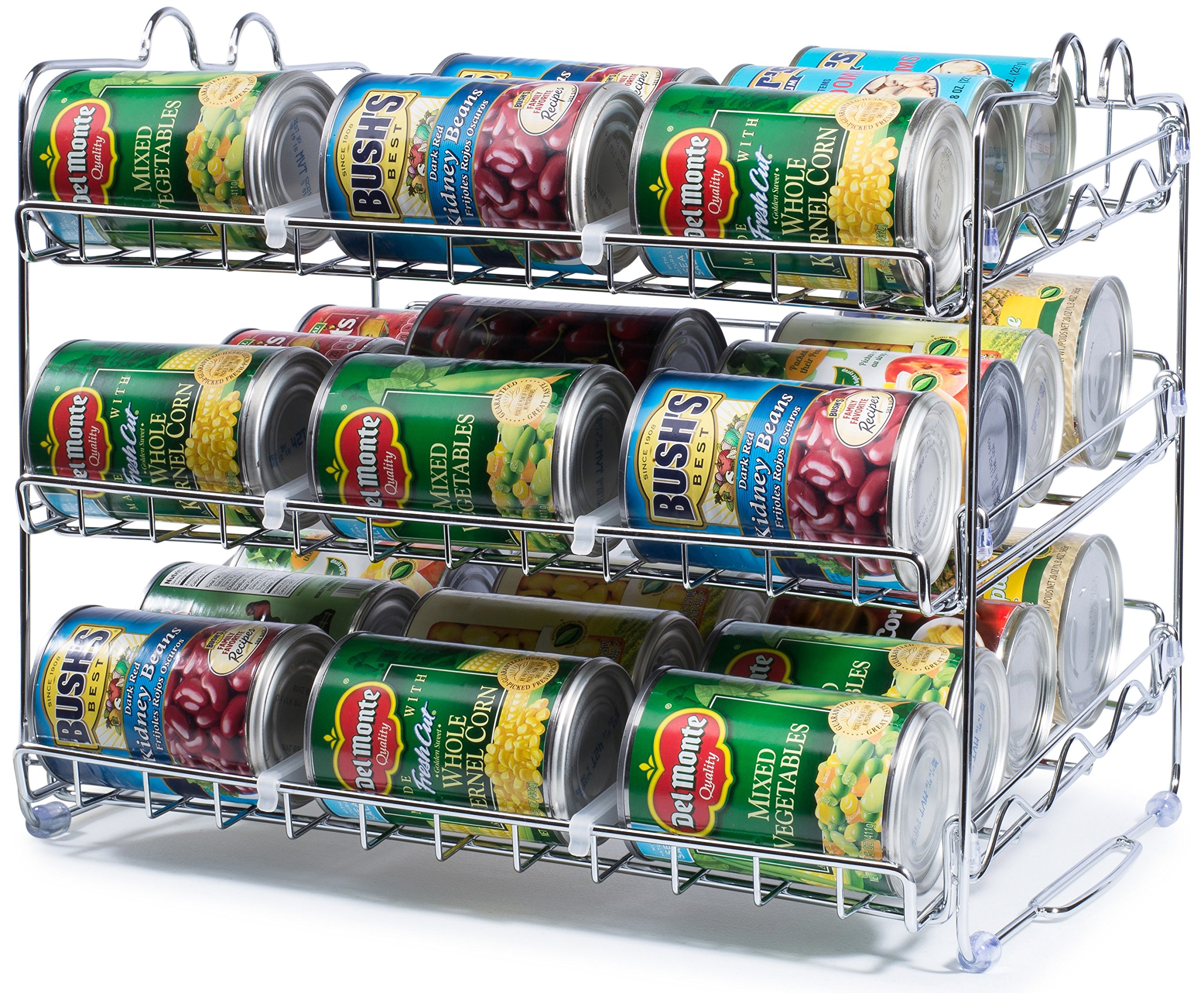 Stackable Can Rack Organizer, Storage for 36 cans - Great for the Pantry Shelf, Kitchen Cabinet or Counter-top. Stack Another Set on Top to Double Your Storage Capacity. (Chrome Finish) by Che'mar