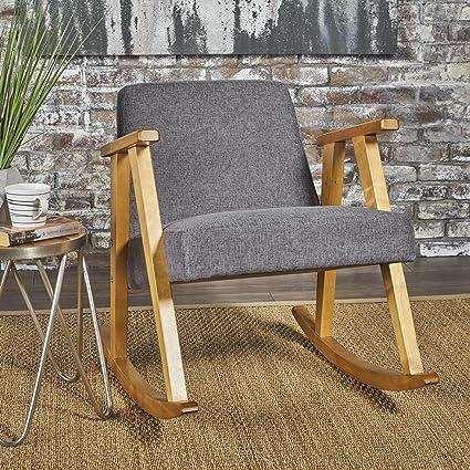 the best attitude bca80 653e5 Nero Mid Century Modern Grey Fabric Rocking Chair