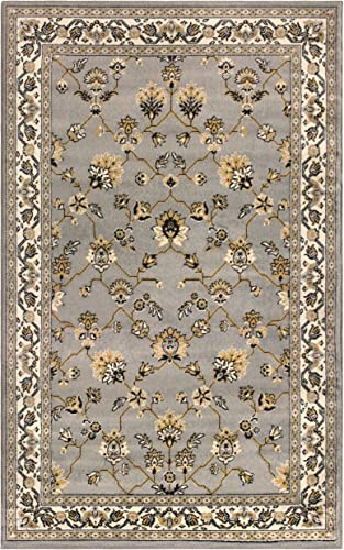 Superior 8mm Pile Height with Jute Backing, Classic Bordered Rug Design, Anti-Static, Water-Repellent Rugs, 8 x 10 Rug, Blue
