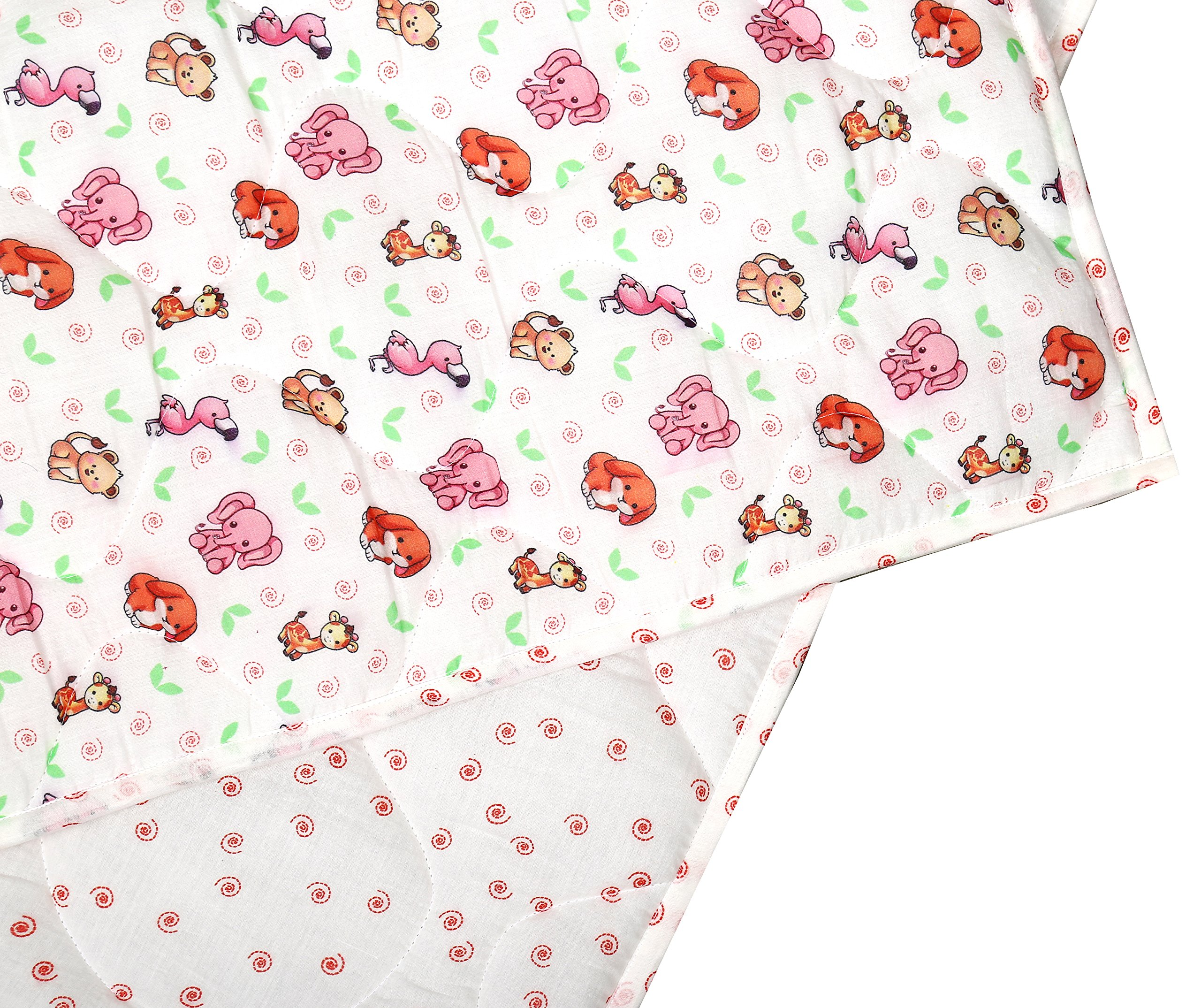 White and Pink Baby Quilt - Warm and Snuggly Toddler Blanket Animal Printed Crib Comforter for New Born Boys & Girls Bed Covers by RAJRANG (Image #6)
