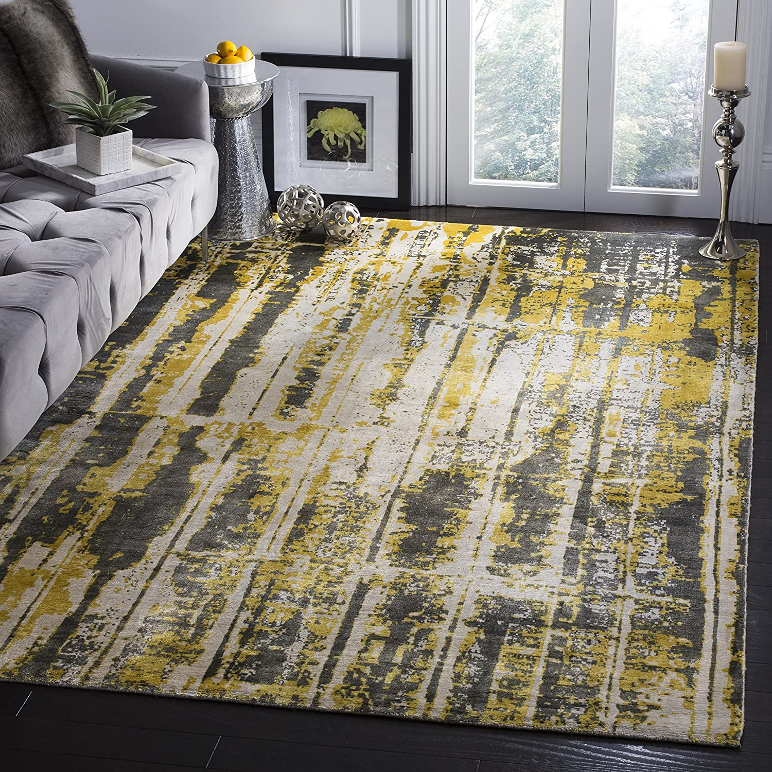 Amazon Com Safavieh Mirage Collection Mir267a Handmade Modern Abstract Viscose Area Rug 9 X 12 Grey Yellow Furniture Decor