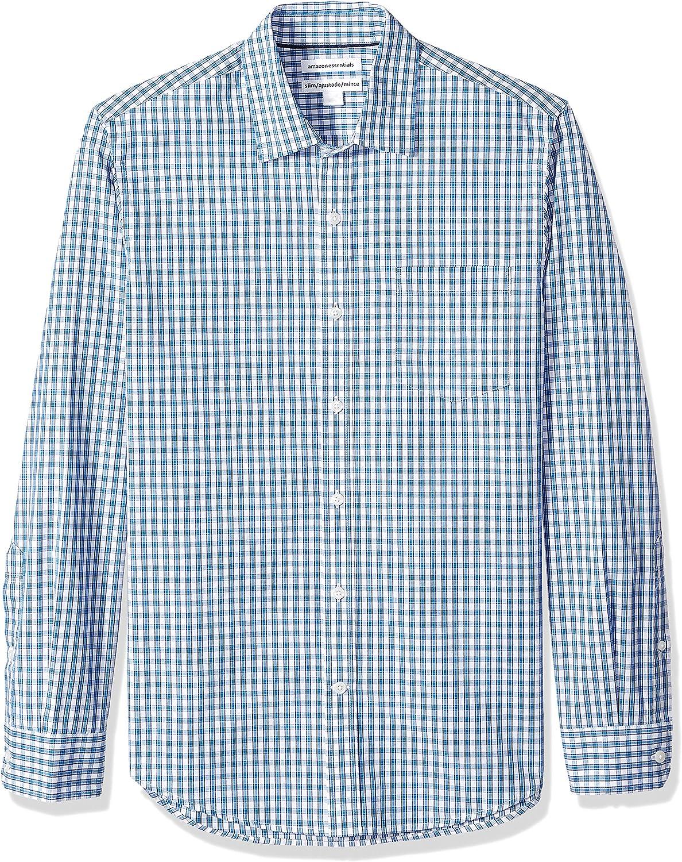 Amazon Essentials Men's Slim-Fit Long-Sleeve Check Shirt