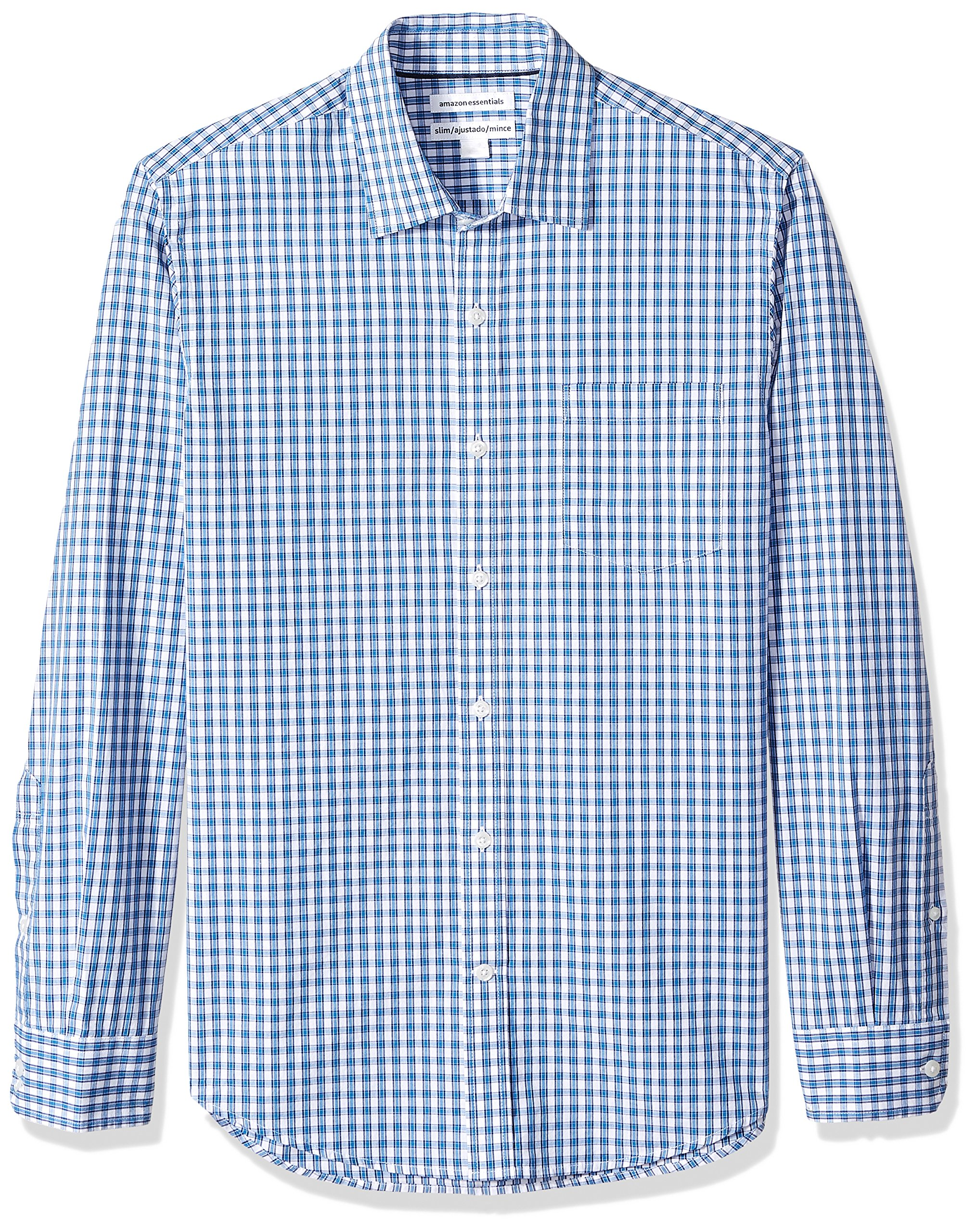 Amazon Essentials Men's Slim-Fit Long-Sleeve Check Shirt, Blue Check, Large