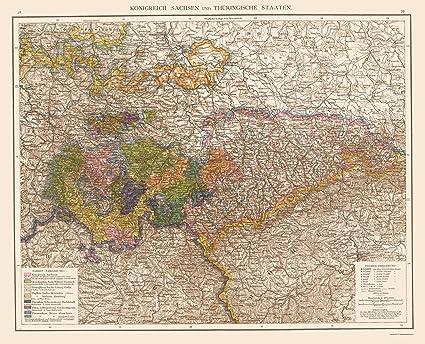 Amazon.com: Old Germany Map - Kingdom of Saxony, Thuringian Region on lower saxony map, duchy of warsaw map, confederation of the rhine map, union of soviet socialist republics map, kingdom of saxony medal, confederate states of america map, kingdom of saxony in england, saxony location on map,