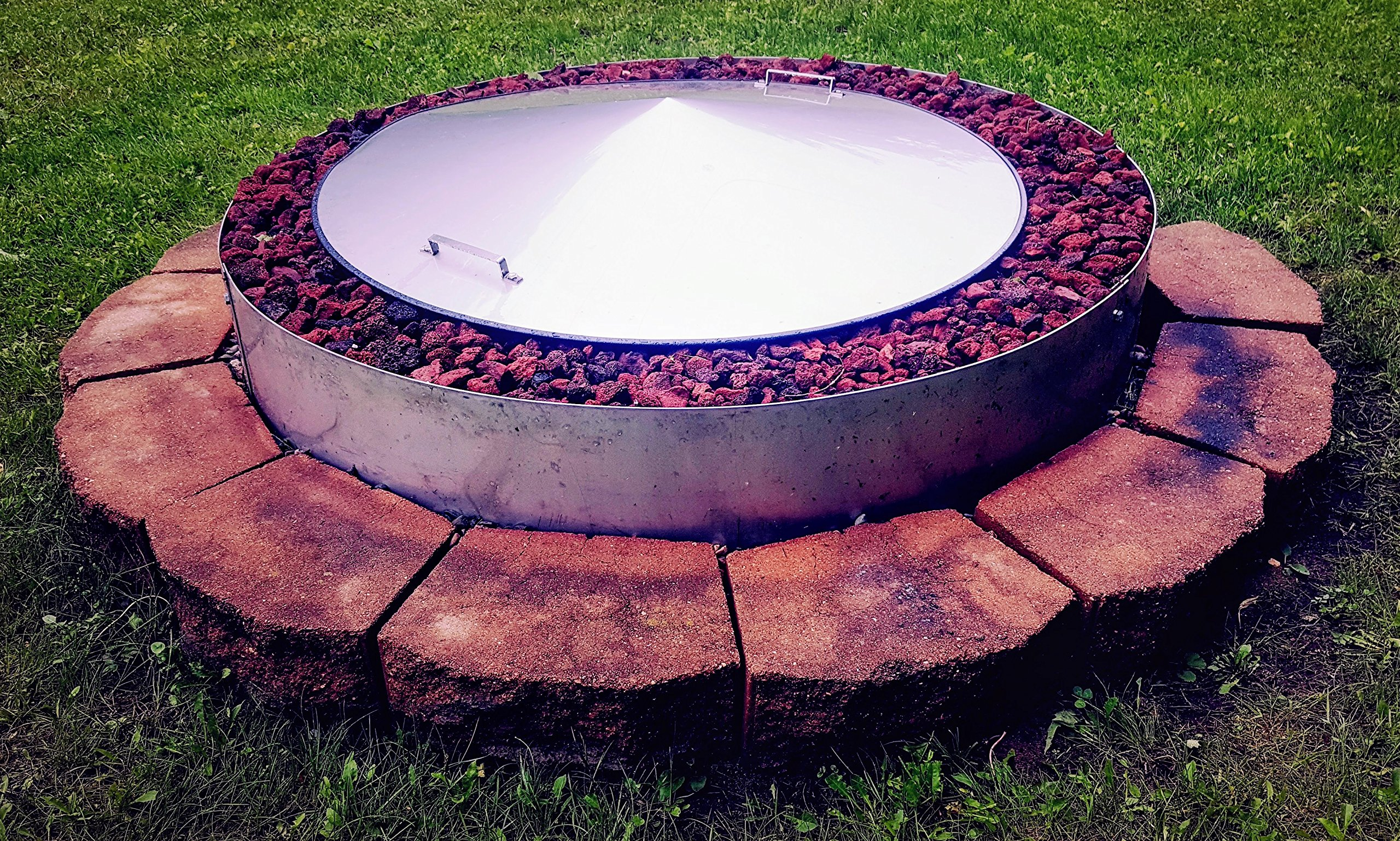 39'' Round Stainless Steel Metal Fire Pit Cover Top Lid by Higley Fire Pit Covers