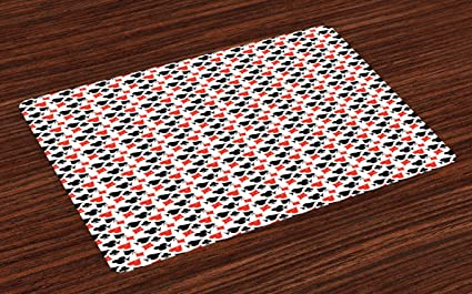 lunarable poker place mats set of 4 grunge inspirations in card suits geometric pattern gambling