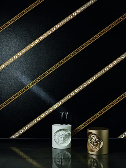 Versace wallpaper border Vanitas 5.00 m x 0.09 m yellow metallic black Made in Germany 343051 34305