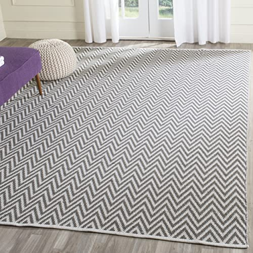 Safavieh Montauk Collection MTK812A Handmade Flatweave Grey and Ivory Cotton Area Rug 8 x 10