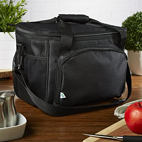 817c623db268 Fit & Fresh 12 Can Capacity Cooler Bag, Insulated with Adjustable Shoulder  Strap, Soft Sided Zippered Lunch Box for Adults & Kids, Black