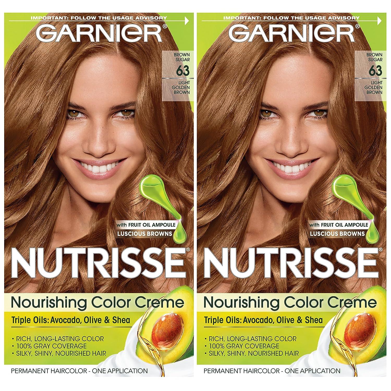 Garnier Hair Color Nutrisse Nourishing Creme, 63 Light Golden Brown (Brown Sugar), 2 Count