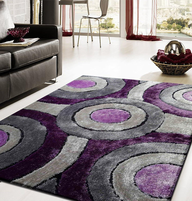 Amazon.com: RUGADDICTION Hermosa alfombra Color Gris con Púrpura hecha a mano estilo moderno suave y lujosa , gruesa pila de tamaño 5 x 7 pies: Kitchen & ...