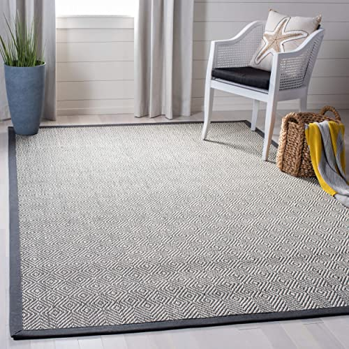 Safavieh Natural Fiber Collection NF151A Natural and Grey Area Rug, 5 x 8