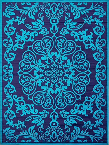 Unique Loom Metro Collection Modern Vintage Botanical Medallion Turquoise Area Rug 9 0 x 12 0